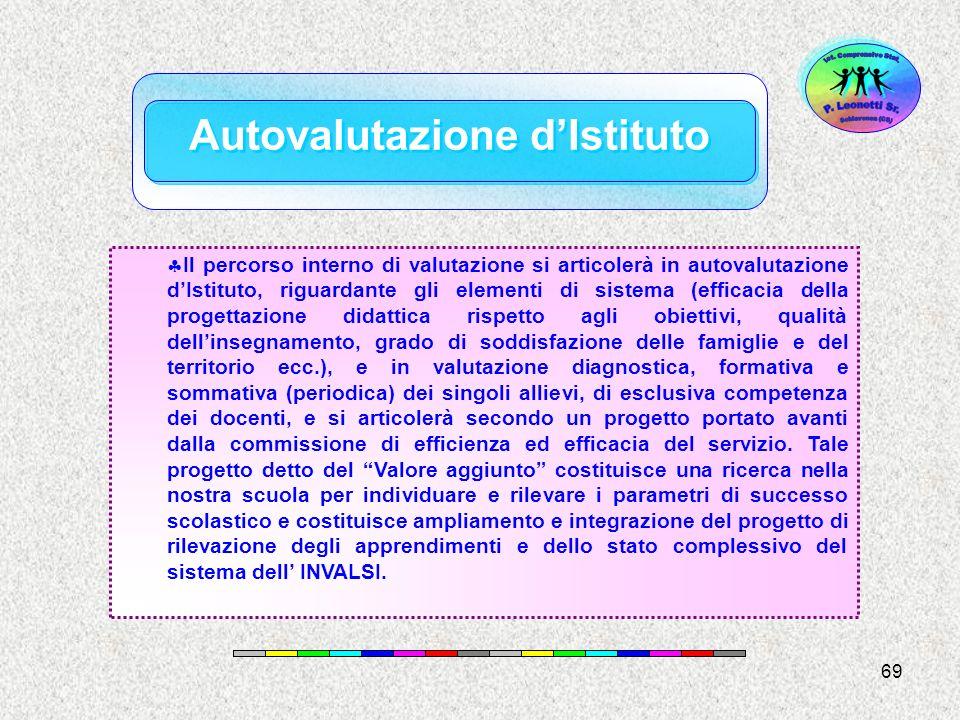 69 Il percorso interno di valutazione si articolerà in autovalutazione dIstituto, riguardante gli elementi di sistema (efficacia della progettazione d