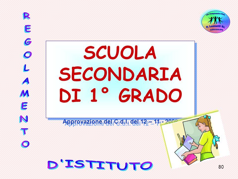 80 SCUOLA SECONDARIA DI 1° GRADO Approvazione del C.d.I. del 12 – 11 - 2008 SCUOLA SECONDARIA DI 1° GRADO Approvazione del C.d.I. del 12 – 11 - 2008