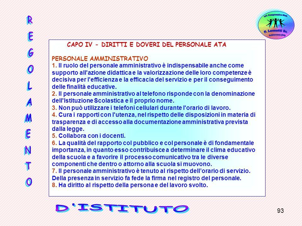 93 CAPO IV - DIRITTI E DOVERI DEL PERSONALE ATA PERSONALE AMMINISTRATIVO 1. Il ruolo del personale amministrativo è indispensabile anche come supporto