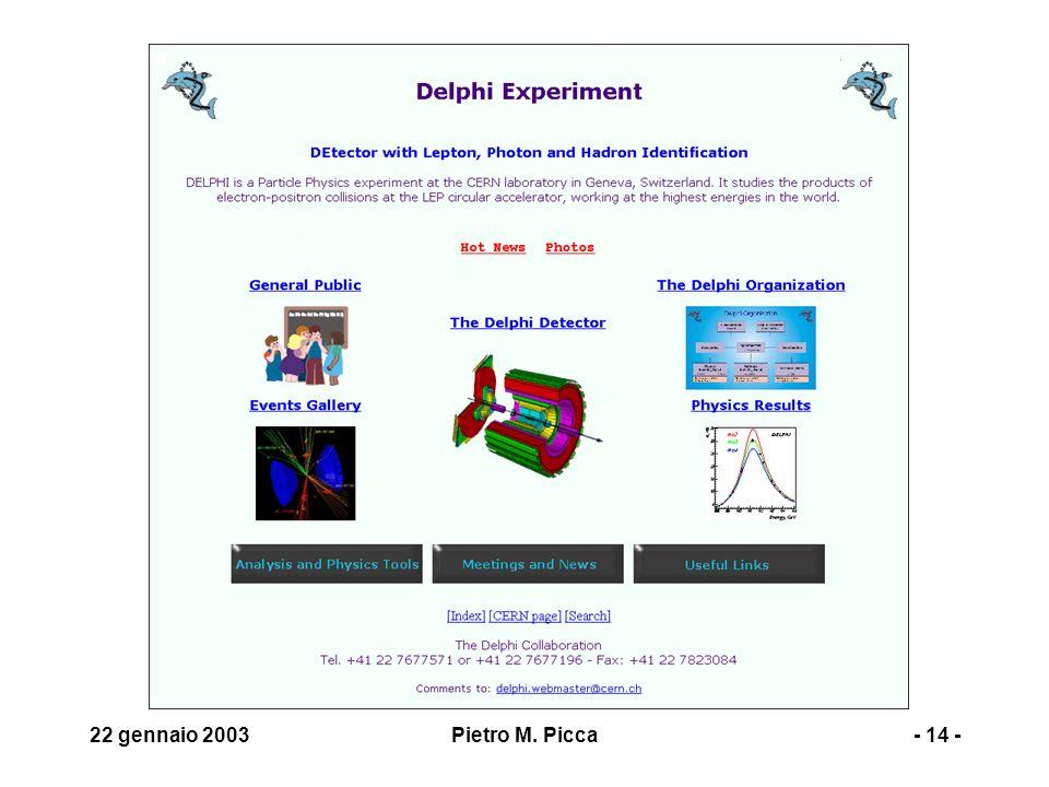 22 gennaio 2003Pietro M. Picca- 14 -
