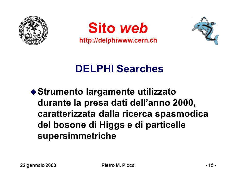 22 gennaio 2003Pietro M. Picca- 16 -