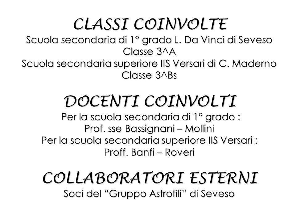 CLASSI COINVOLTE Scuola secondaria di 1° grado L.