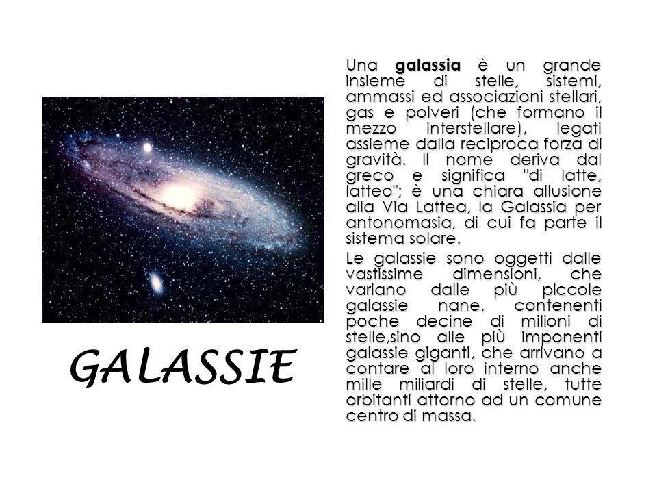 Una galassia è un grande insieme di stelle, sistemi, ammassi ed associazioni stellari, gas e polveri (che formano il mezzo interstellare), legati assieme dalla reciproca forza di gravità.