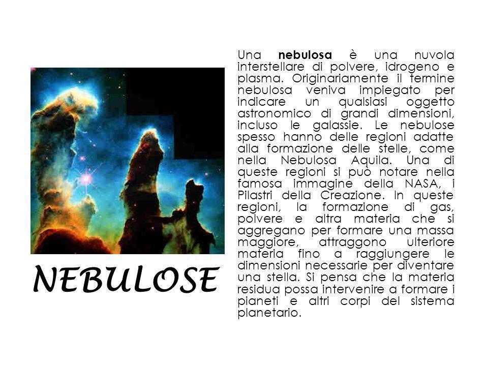 Una nebulosa è una nuvola interstellare di polvere, idrogeno e plasma.