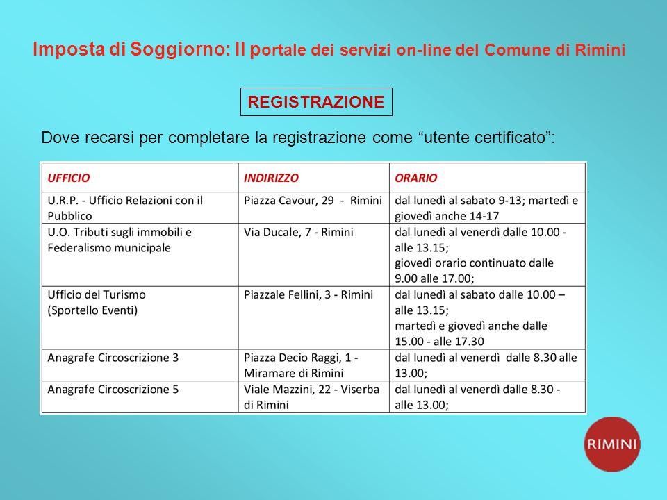 Imposta di Soggiorno: Il p ortale dei servizi on-line del Comune di Rimini Dove recarsi per completare la registrazione come utente certificato: REGISTRAZIONE