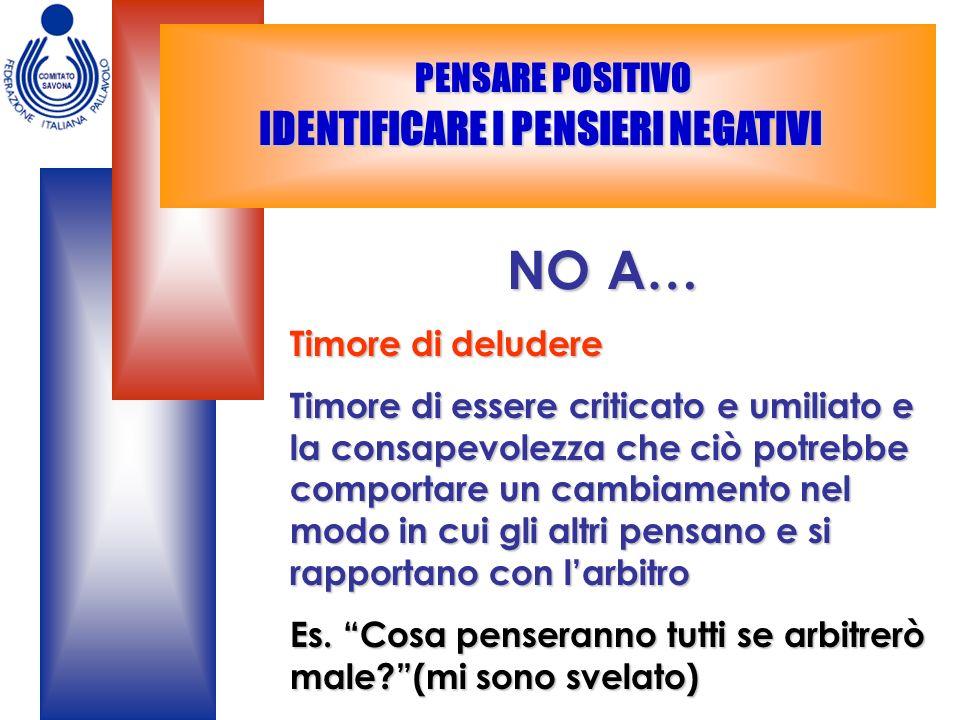 PENSARE POSITIVO IDENTIFICARE I PENSIERI NEGATIVI PENSARE POSITIVO IDENTIFICARE I PENSIERI NEGATIVI NO A… NO A… Timore di deludere Timore di essere cr