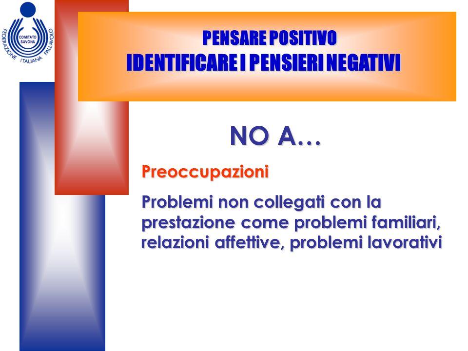 PENSARE POSITIVO IDENTIFICARE I PENSIERI NEGATIVI PENSARE POSITIVO IDENTIFICARE I PENSIERI NEGATIVI NO A… NO A…Preoccupazioni Problemi non collegati c