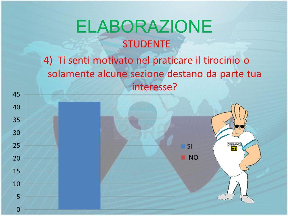ELABORAZIONE STUDENTE 4) Ti senti motivato nel praticare il tirocinio o solamente alcune sezione destano da parte tua interesse?
