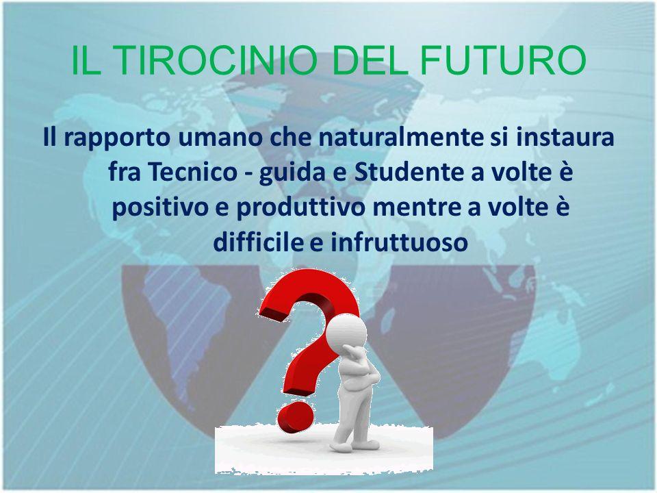 IL TIROCINIO DEL FUTURO Il rapporto umano che naturalmente si instaura fra Tecnico - guida e Studente a volte è positivo e produttivo mentre a volte è difficile e infruttuoso