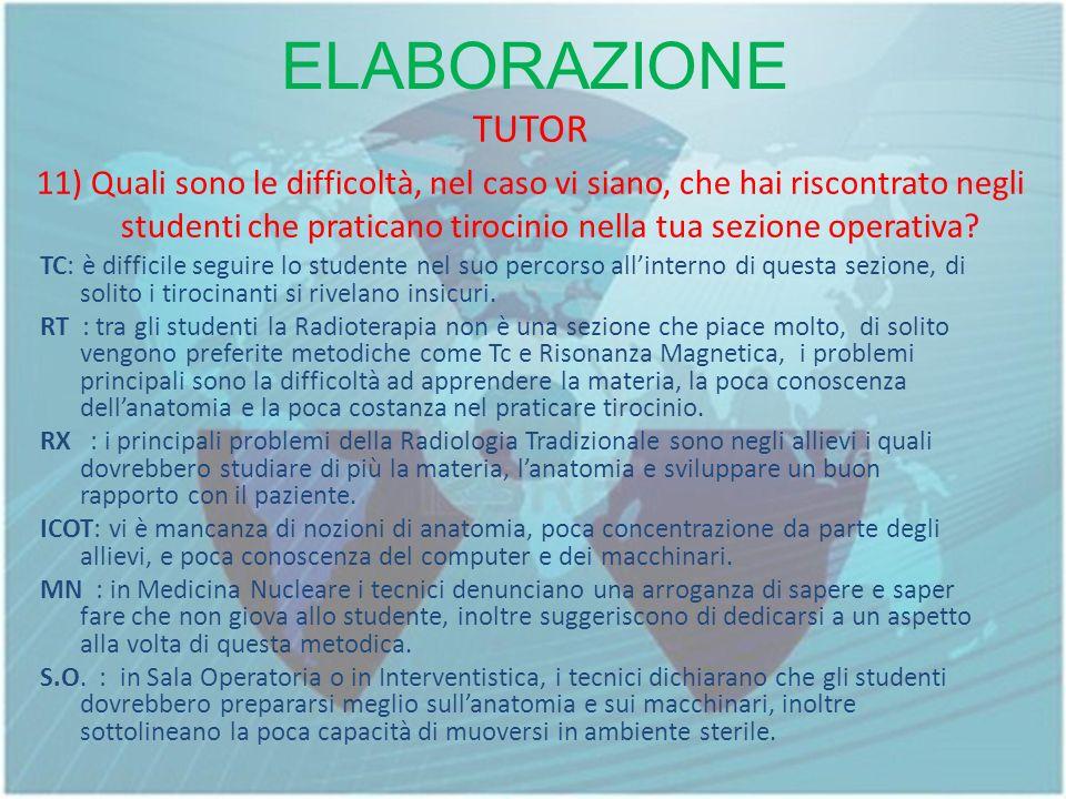 ELABORAZIONE TUTOR 11) Quali sono le difficoltà, nel caso vi siano, che hai riscontrato negli studenti che praticano tirocinio nella tua sezione operativa.