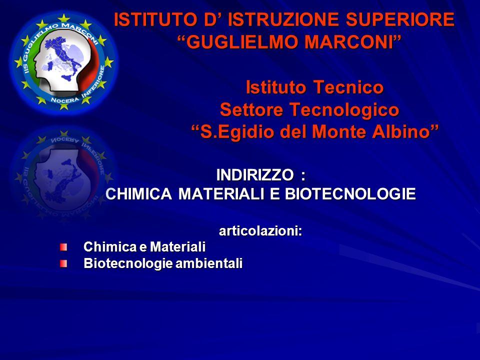 ISTITUTO D ISTRUZIONE SUPERIORE ISTITUTO D ISTRUZIONE SUPERIORE GUGLIELMO MARCONI GUGLIELMO MARCONI Istituto Tecnico Istituto Tecnico Settore Tecnologico Settore Tecnologico S.Egidio del Monte Albino S.Egidio del Monte Albino INDIRIZZO : CHIMICA MATERIALI E BIOTECNOLOGIE articolazioni: Chimica e Materiali Biotecnologie ambientali