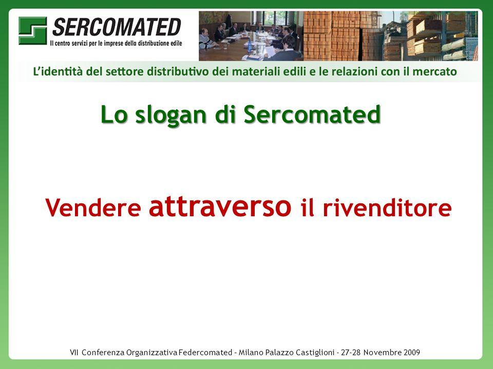 VII Conferenza Organizzativa Federcomated – Milano Palazzo Castiglioni - 27-28 Novembre 2009 Lo slogan di Sercomated Vendere attraverso il rivenditore