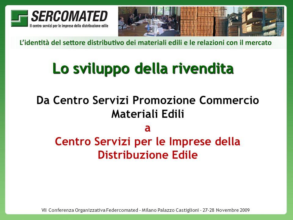 VII Conferenza Organizzativa Federcomated – Milano Palazzo Castiglioni - 27-28 Novembre 2009 Lo sviluppo della rivendita Da Centro Servizi Promozione Commercio Materiali Edili a Centro Servizi per le Imprese della Distribuzione Edile