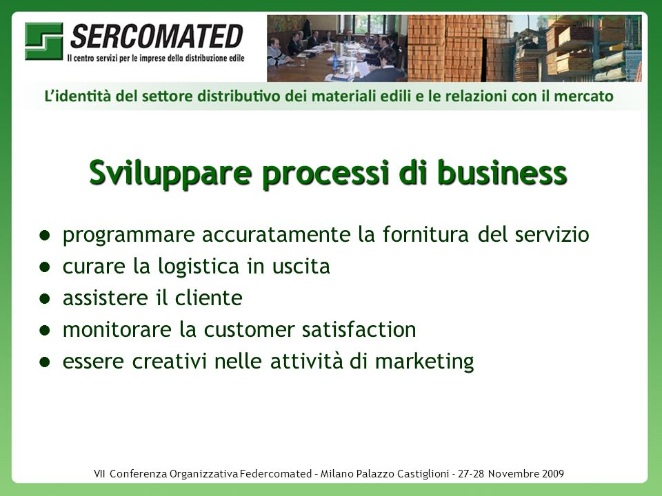 VII Conferenza Organizzativa Federcomated – Milano Palazzo Castiglioni - 27-28 Novembre 2009 Sviluppare processi di business programmare accuratamente