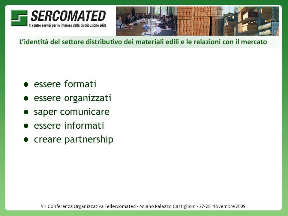 VII Conferenza Organizzativa Federcomated – Milano Palazzo Castiglioni - 27-28 Novembre 2009 essere formati essere organizzati saper comunicare essere informati creare partnership