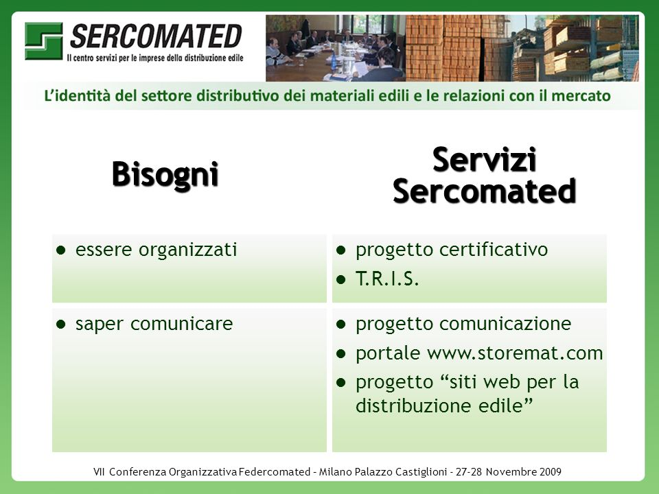 VII Conferenza Organizzativa Federcomated – Milano Palazzo Castiglioni - 27-28 Novembre 2009 Bisogni Servizi Sercomated essere organizzati progetto certificativo T.R.I.S.