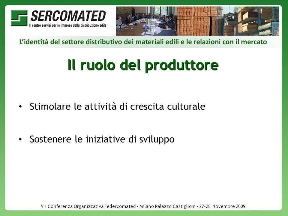 VII Conferenza Organizzativa Federcomated – Milano Palazzo Castiglioni - 27-28 Novembre 2009 Il ruolo del produttore Stimolare le attività di crescita culturale Sostenere le iniziative di sviluppo
