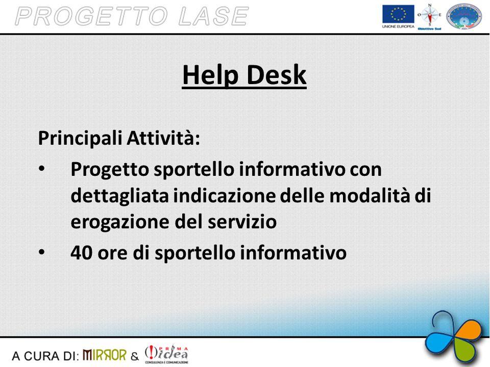 Help Desk Principali Attività: Progetto sportello informativo con dettagliata indicazione delle modalità di erogazione del servizio 40 ore di sportello informativo