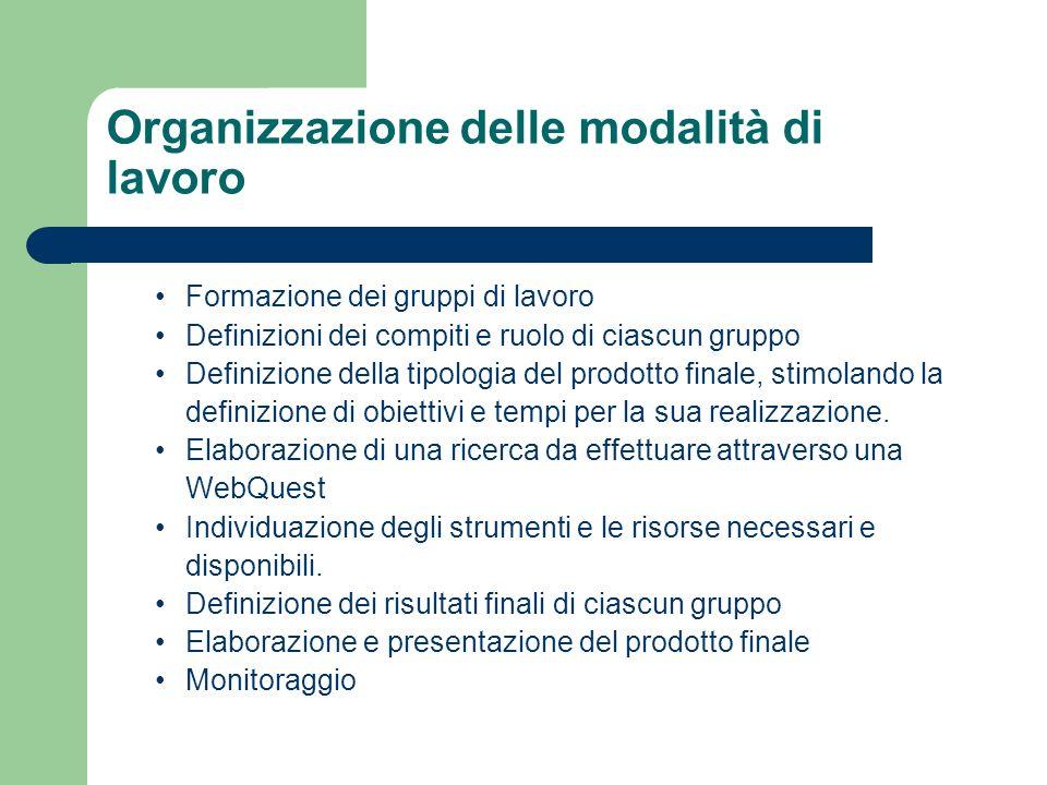Organizzazione delle modalità di lavoro Formazione dei gruppi di lavoro Definizioni dei compiti e ruolo di ciascun gruppo Definizione della tipologia del prodotto finale, stimolando la definizione di obiettivi e tempi per la sua realizzazione.