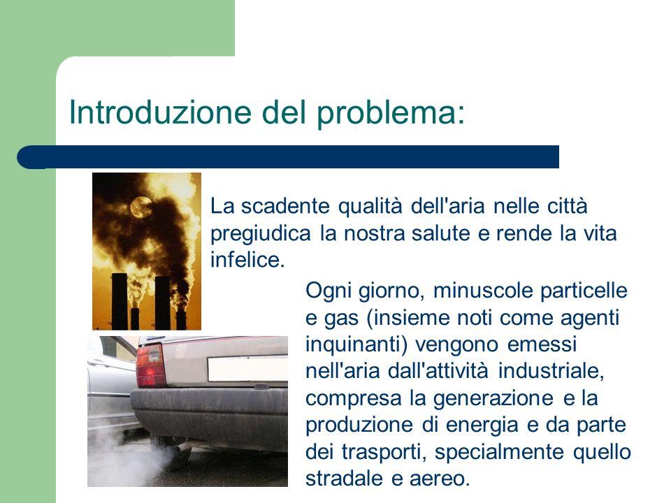 Ogni giorno, minuscole particelle e gas (insieme noti come agenti inquinanti) vengono emessi nell aria dall attività industriale, compresa la generazione e la produzione di energia e da parte dei trasporti, specialmente quello stradale e aereo.