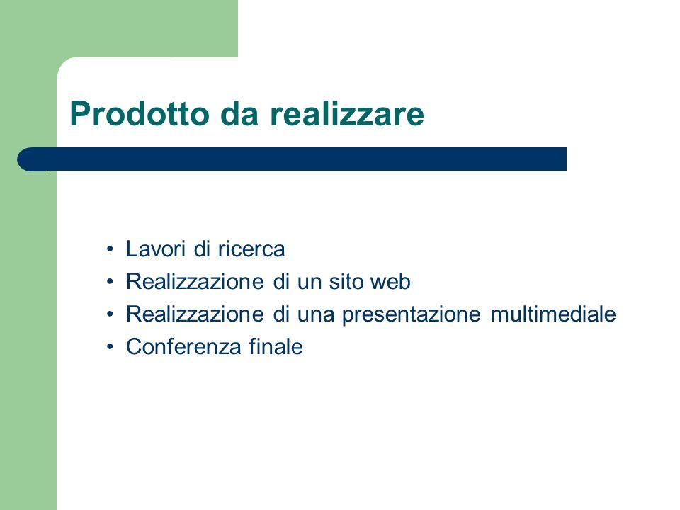 Prodotto da realizzare Lavori di ricerca Realizzazione di un sito web Realizzazione di una presentazione multimediale Conferenza finale