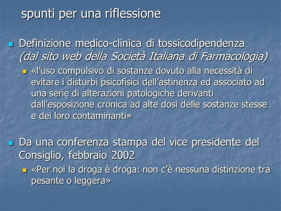spunti per una riflessione Definizione medico-clinica di tossicodipendenza (dal sito web della Società Italiana di Farmacologia) Definizione medico-cl