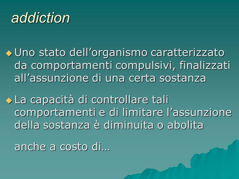 addiction Uno stato dellorganismo caratterizzato da comportamenti compulsivi, finalizzati allassunzione di una certa sostanza Uno stato dellorganismo