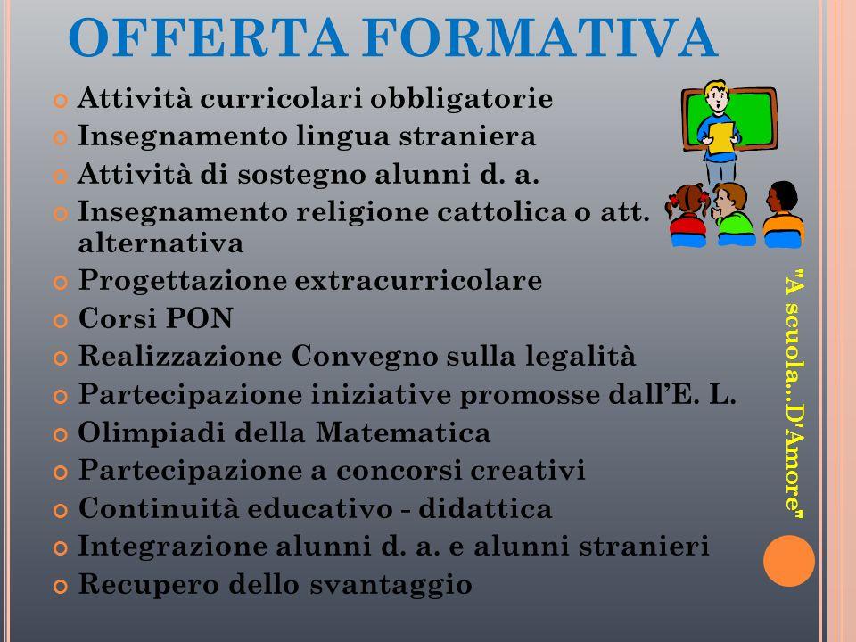 OFFERTA FORMATIVA Attività curricolari obbligatorie Insegnamento lingua straniera Attività di sostegno alunni d. a. Insegnamento religione cattolica o