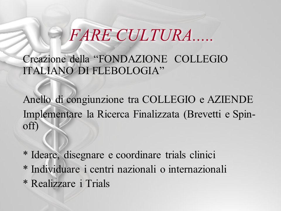 FARE CULTURA..... Creazione della FONDAZIONE COLLEGIO ITALIANO DI FLEBOLOGIA Anello di congiunzione tra COLLEGIO e AZIENDE Implementare la Ricerca Fin