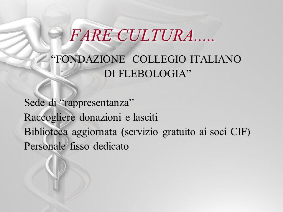 FARE CULTURA..... FONDAZIONE COLLEGIO ITALIANO DI FLEBOLOGIA Sede di rappresentanza Raccogliere donazioni e lasciti Biblioteca aggiornata (servizio gr