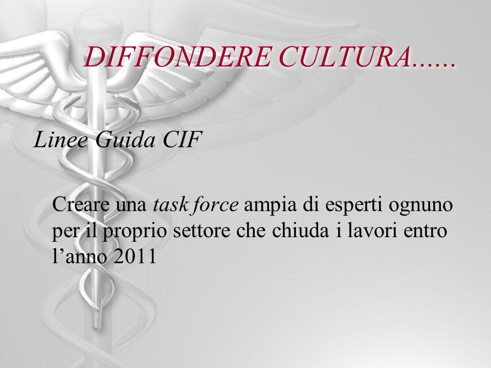 DIFFONDERE CULTURA...... Linee Guida CIF Creare una task force ampia di esperti ognuno per il proprio settore che chiuda i lavori entro lanno 2011