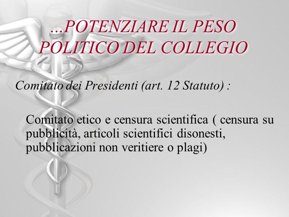...POTENZIARE IL PESO POLITICO DEL COLLEGIO Comitato dei Presidenti (art. 12 Statuto) : Comitato etico e censura scientifica ( censura su pubblicità,