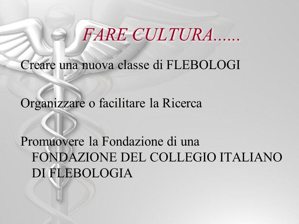 FARE CULTURA...... Creare una nuova classe di FLEBOLOGI Organizzare o facilitare la Ricerca Promuovere la Fondazione di una FONDAZIONE DEL COLLEGIO IT