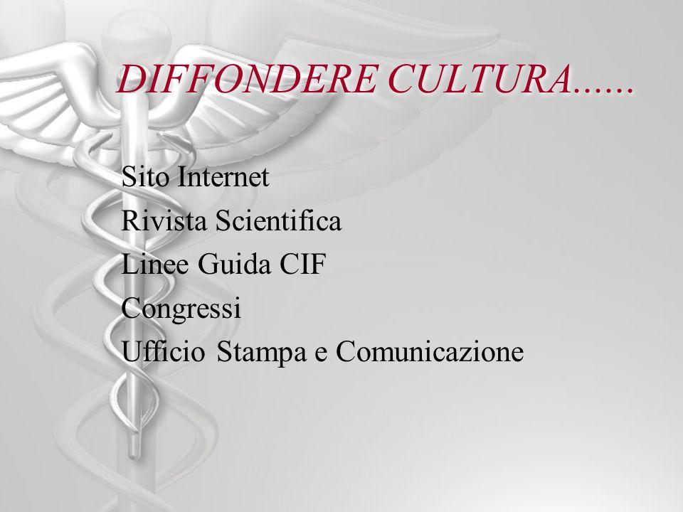 DIFFONDERE CULTURA...... Sito Internet Rivista Scientifica Linee Guida CIF Congressi Ufficio Stampa e Comunicazione