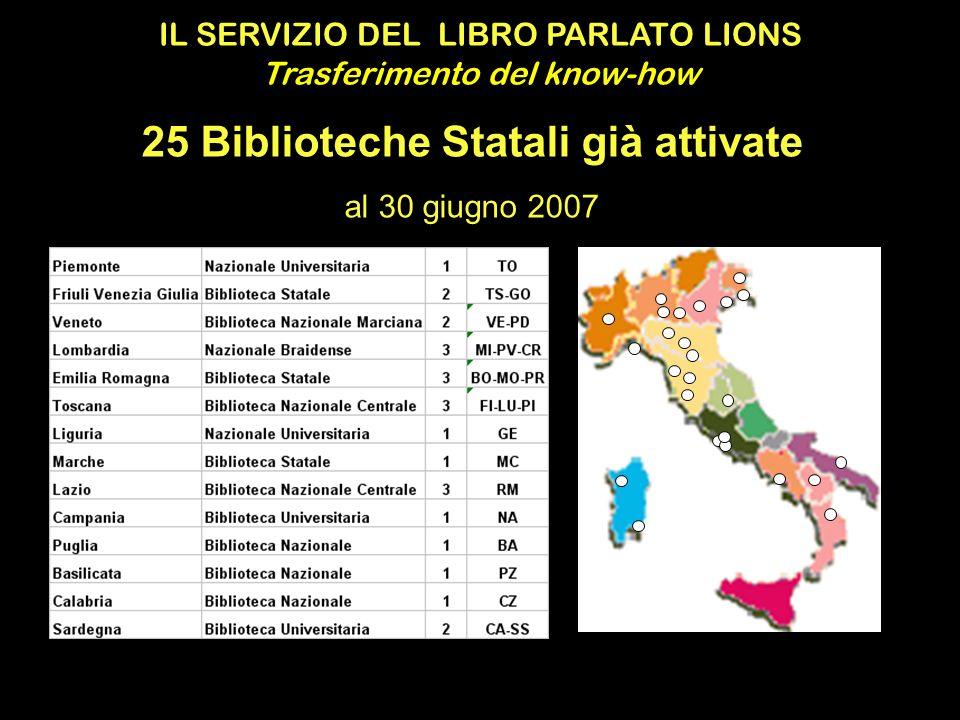 IL SERVIZIO DEL LIBRO PARLATO LIONS Trasferimento del know-how 25 Biblioteche Statali già attivate al 30 giugno 2007