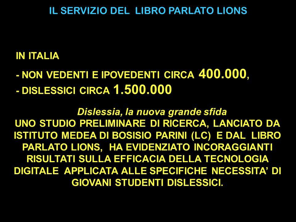 IL SERVIZIO DEL LIBRO PARLATO LIONS UNO STUDIO PRELIMINARE DI RICERCA, LANCIATO DA ISTITUTO MEDEA DI BOSISIO PARINI (LC) E DAL LIBRO PARLATO LIONS, HA EVIDENZIATO INCORAGGIANTI RISULTATI SULLA EFFICACIA DELLA TECNOLOGIA DIGITALE APPLICATA ALLE SPECIFICHE NECESSITA DI GIOVANI STUDENTI DISLESSICI.