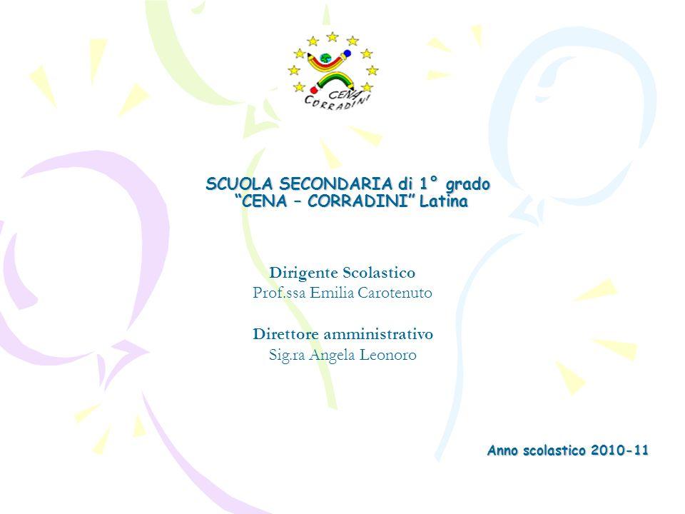 SCUOLA SECONDARIA di 1° grado CENA – CORRADINI Latina Anno scolastico 2010-11 Dirigente Scolastico Prof.ssa Emilia Carotenuto Direttore amministrativo