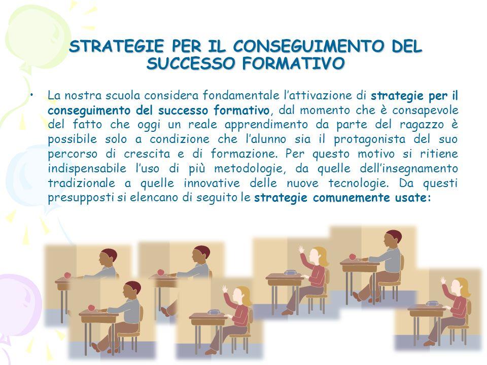 STRATEGIE PER IL CONSEGUIMENTO DEL SUCCESSO FORMATIVO La nostra scuola considera fondamentale lattivazione di strategie per il conseguimento del succe