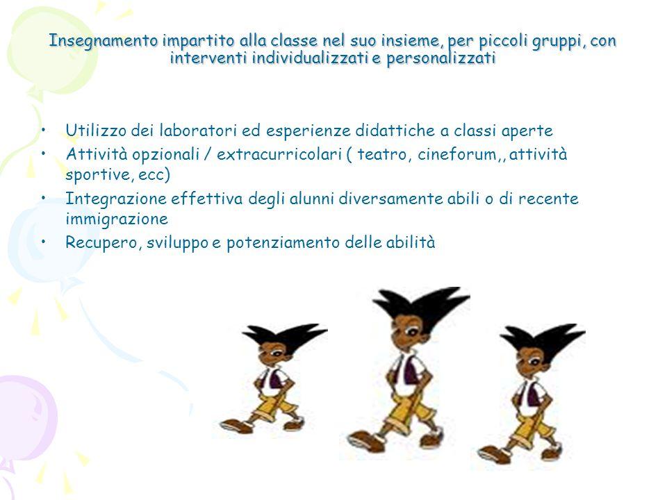 Insegnamento impartito alla classe nel suo insieme, per piccoli gruppi, con interventi individualizzati e personalizzati Utilizzo dei laboratori ed es