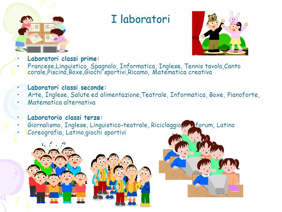 I laboratori Laboratori classi prime: Francese,Linguistico, Spagnolo, Informatica, Inglese, Tennis tavolo,Canto corale,Piscina,Boxe,Giochi sportivi,Ri