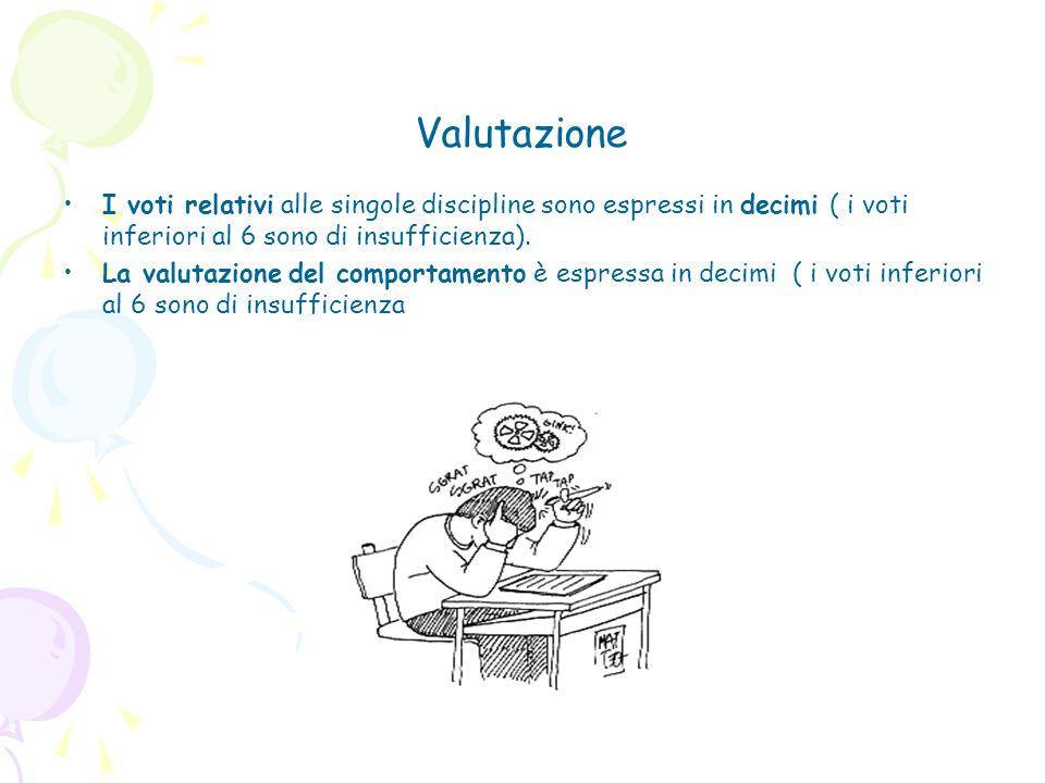 Valutazione I voti relativi alle singole discipline sono espressi in decimi ( i voti inferiori al 6 sono di insufficienza). La valutazione del comport