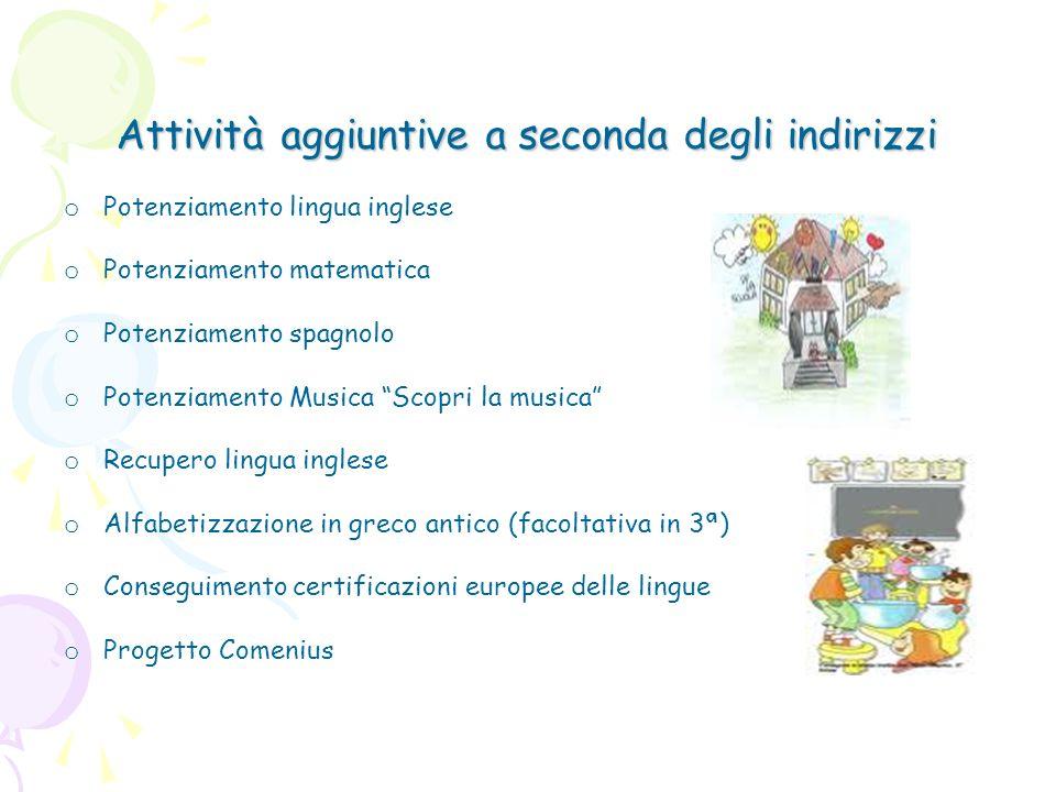 Attività aggiuntive a seconda degli indirizzi o Potenziamento lingua inglese o Potenziamento matematica o Potenziamento spagnolo o Potenziamento Music