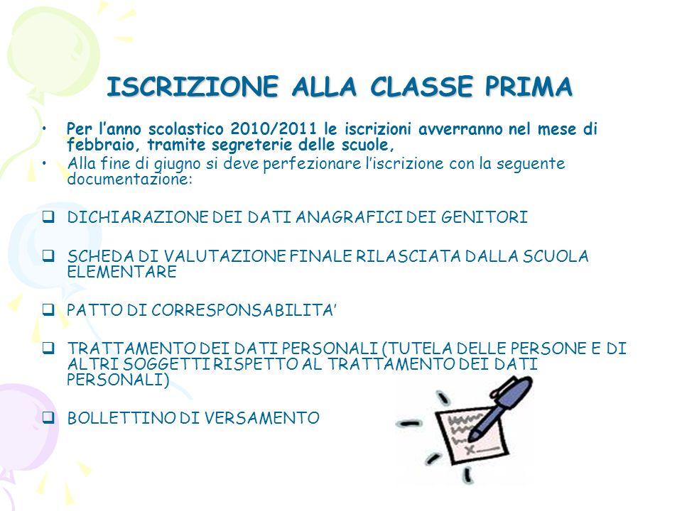 ISCRIZIONE ALLA CLASSE PRIMA Per lanno scolastico 2010/2011 le iscrizioni avverranno nel mese di febbraio, tramite segreterie delle scuole, Alla fine