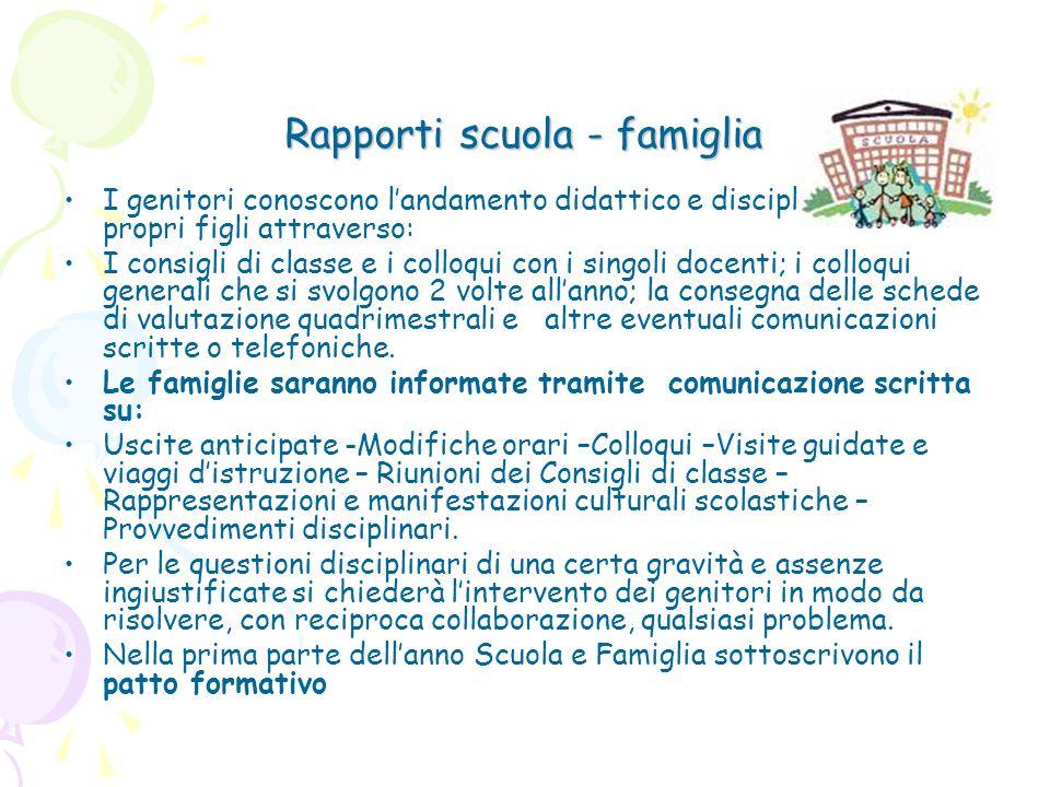 Rapporti scuola - famiglia I genitori conoscono landamento didattico e disciplinare dei propri figli attraverso: I consigli di classe e i colloqui con