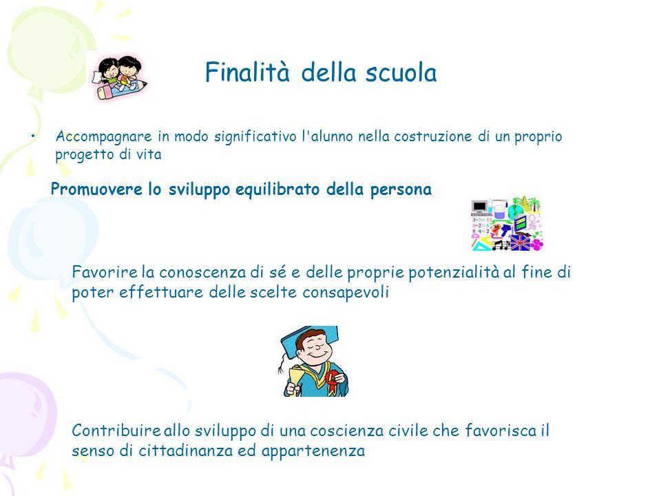 Promuovere lo sviluppo equilibrato della persona Finalità della scuola Accompagnare in modo significativo l'alunno nella costruzione di un proprio pro