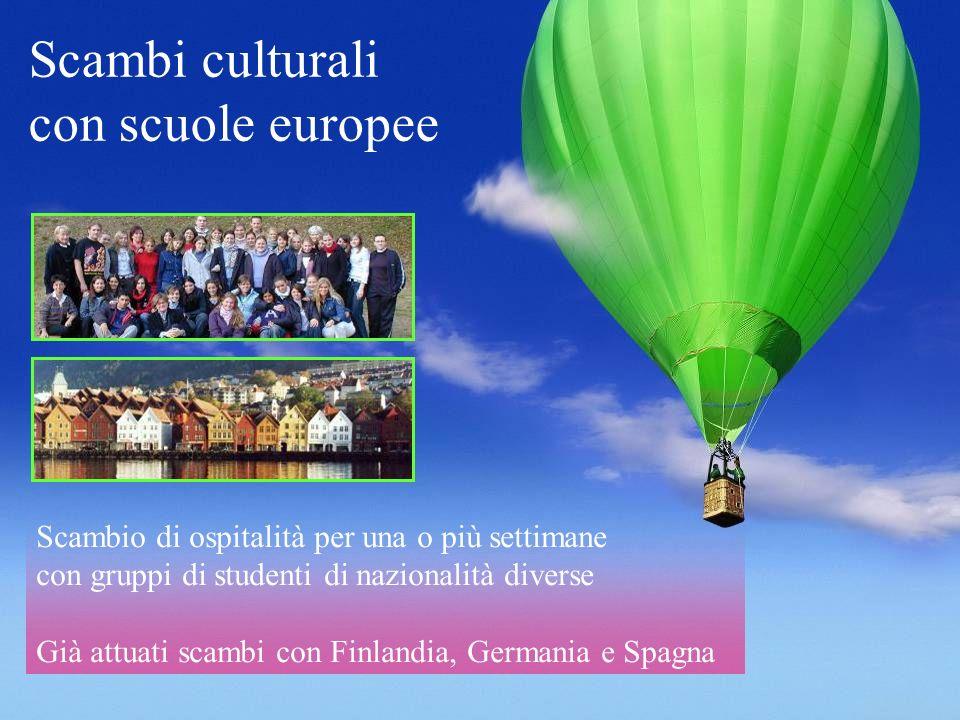 Scambi culturali con scuole europee Scambio di ospitalità per una o più settimane con gruppi di studenti di nazionalità diverse Già attuati scambi con
