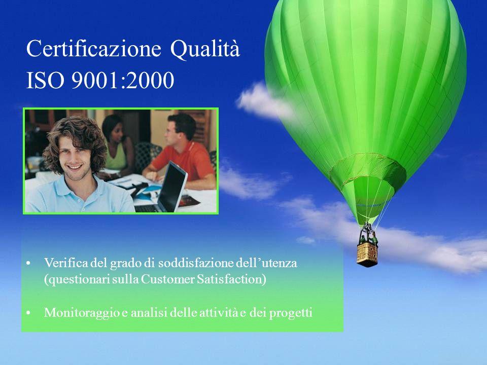 Certificazione Qualità ISO 9001:2000 Verifica del grado di soddisfazione dellutenza (questionari sulla Customer Satisfaction) Monitoraggio e analisi delle attività e dei progetti