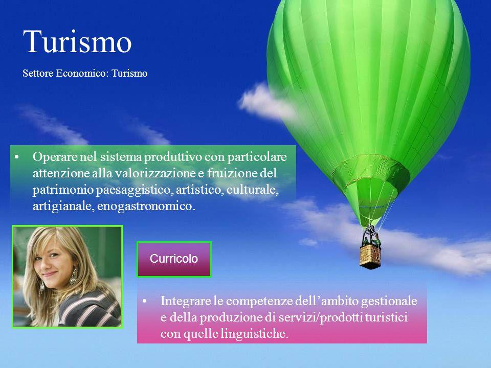 Integrare le competenze dellambito gestionale e della produzione di servizi/prodotti turistici con quelle linguistiche. Turismo Settore Economico: Tur