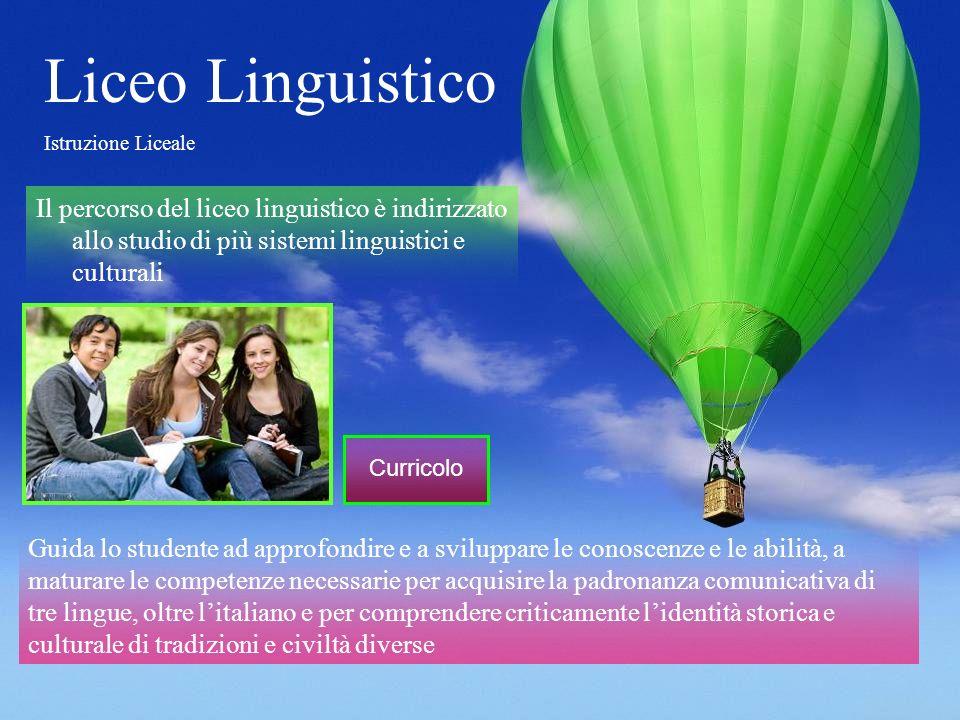 Liceo Linguistico Istruzione Liceale Il percorso del liceo linguistico è indirizzato allo studio di più sistemi linguistici e culturali Guida lo stude