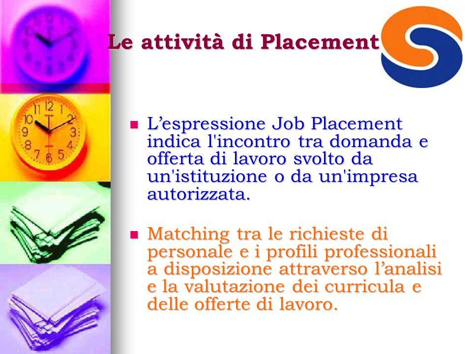 Le attività di Placement Lespressione Job Placement indica l incontro tra domanda e offerta di lavoro svolto da un istituzione o da un impresa autorizzata.